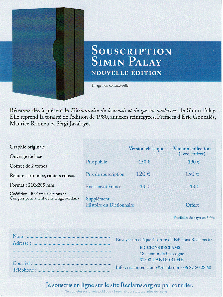 Bulletin de souscription Palay